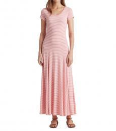 Ralph Lauren Pink Striped Cotton-Blend Maxidress