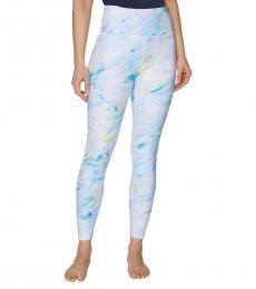 Betsey Johnson White Blue-Printed High-Rise Leggings