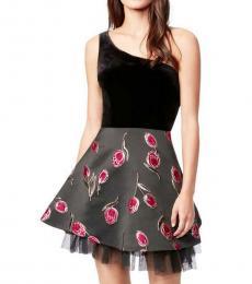 Black/Pink Velvet One Shoulder Party Dress