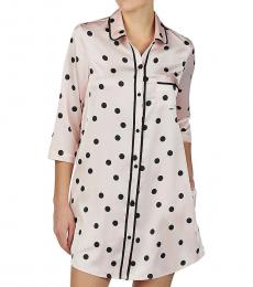Kate Spade Light Pink Polka Dot Satin Sleepshirt