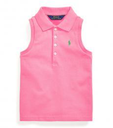 Ralph Lauren Little Girls Baja Pink Mesh Polo