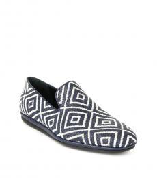 Salvatore Ferragamo Indigo Fiore Fabric Loafers