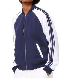 Michael Kors True Navy Striped-Sleeve Bomber Jacket