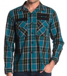 Teal Takeshi Check Shirt