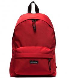 Red Zip Pocket Large Backpack