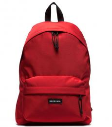 Balenciaga Red Zip Pocket Large Backpack