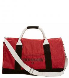 True Religion Red Logo Large Duffle Bag