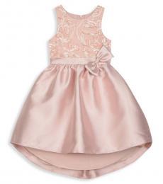 Badgley Mischka Girls Blush High-Low Sleeveless Dress