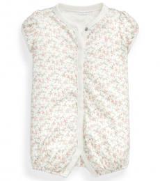 Ralph Lauren Baby Girls White Floral Bubble Shortall