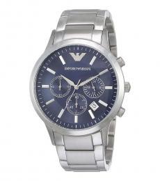 Emporio Armani Silver-Blue Dial Chronograph Watch