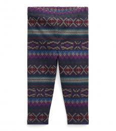Ralph Lauren Baby Girls Purple Multi Fair Isle-Print Leggings