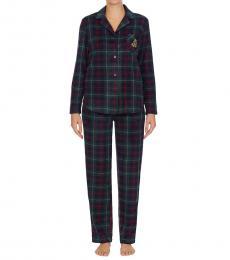 Ralph Lauren Grn Pld Fleece Packaged Pajama Set