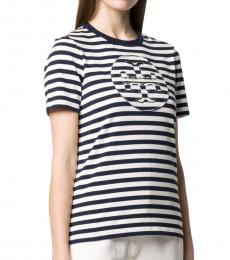Tory Burch White Striped Cotton T-Shirt