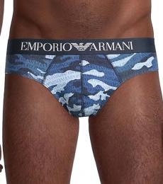 Emporio Armani Blue Camo-Print Briefs