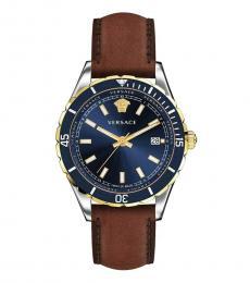 Versace Brown Blue Dial Logo Watch