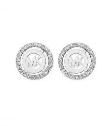 Michael Kors Silver Monogram Stud Earrings