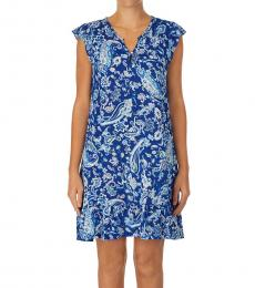 Ralph Lauren Blue Paisley Printed Ruffle-Trim Nightgown