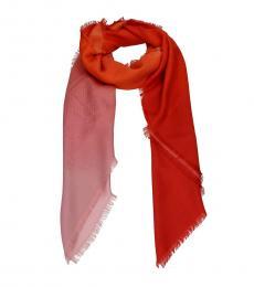 Fendi Orange Foulard Silk Scarf