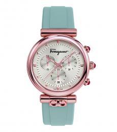 Salvatore Ferragamo Light Blue Varina Silver Dial Watch