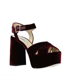 Prada Red Velvet Crisscross Strap Heels
