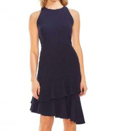 Classic Navy Tiered Ruffled Crepe Dress
