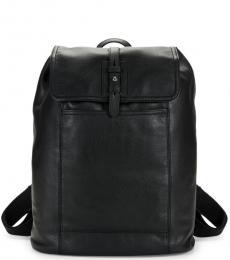 Cole Haan Black Flap Over Large Backpack
