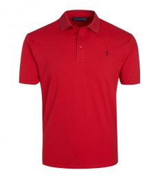 Red Solid Logo Pony Polo