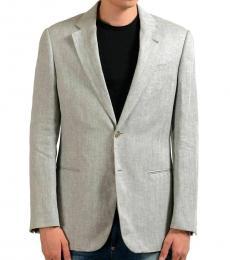 Grey Linen Two Button Blazer