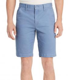 Country Blue Twill Flat Front Shorts
