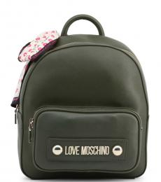 Love Moschino Dark Green Front Pocket Medium Backpack