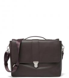 Cole Haan Chocolate Push-Lock Large Briefcase Bag