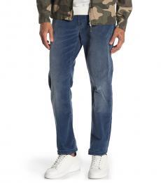 Blue Slimmy Corduroy Slim Straight Pants