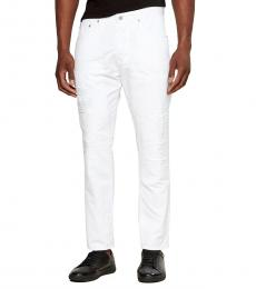 AG Adriano Goldschmied White Apex Distressed Tapered Jeans