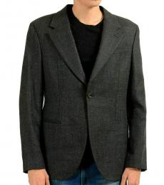Dark Grey Wool One Button Blazer