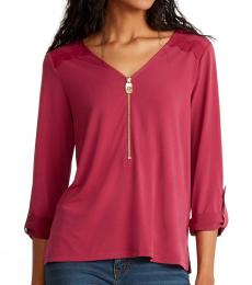 Michael Kors Dark Pink Lace Trim Blouse