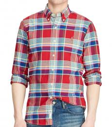 Red Multi Classic-Fit Plaid Oxford Shirt