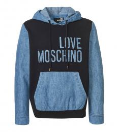 Love Moschino Black Blue Logo Sweatshirt