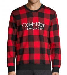 Calvin Klein Black Red Plaid Stretch Sweatshirt