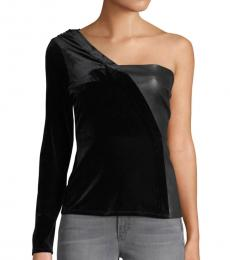BCBGMaxazria Black One-Shoulder Top