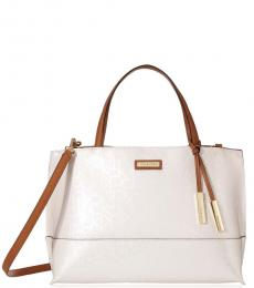 Cement/Caramel Signature Large Satchel