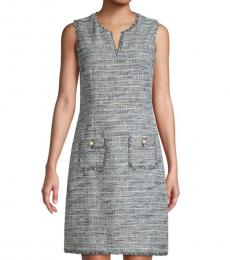 Karl Lagerfeld Blue Tweed Shift Dress