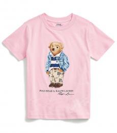 Ralph Lauren Little Boys Pink Preppy Bear T-Shirt
