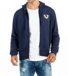 True Religion Dark Blue Metallic Horseshoe Hoodie