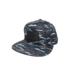 Black Hawaiian Print Cap