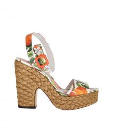 Orange Straw Platform Heels