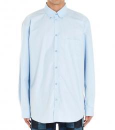 Balenciaga Light Blue Back Logo Shirt