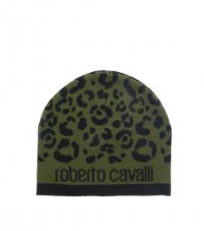 Black-Military Green Leopard Beanie