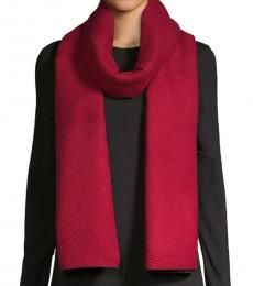 Calvin Klein Barn Red Pleated Double-Faced Blanket Scarf