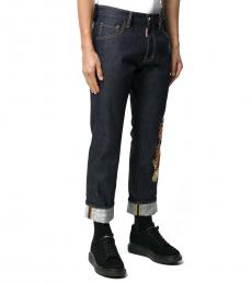 Dark Blue Calf Leather Dan Jeans