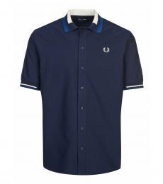 Fred Perry Navy Blue Short Sleeve Logo Shirt